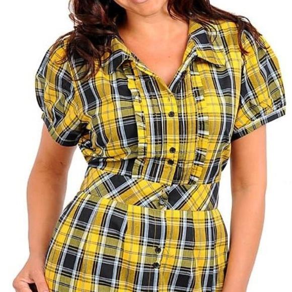 a250fbd1 Zenobia Dresses | Womens Yellow And Black Plaid Shirt Dress | Poshmark